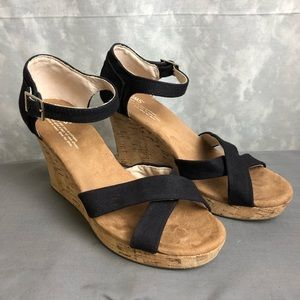Toms Black cross cross cork wedges